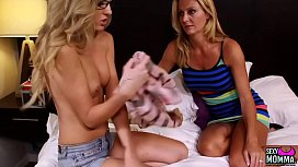 SEXYMOMMA - Teenie Emily Kae groped and licked by her stepmom