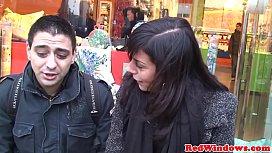Dutch whore sprayed with cum in a threesome