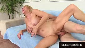 Perfect Granny Erica Lauren Shows Him What Her Mouth and Pussy Can Do