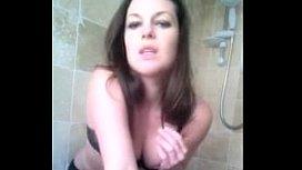 hairy pussy brunette fucks her toys in the bathroom - webcam