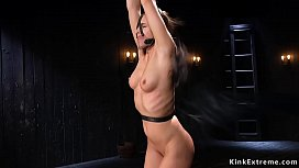 Hot tanned beauty whipped in dungeon