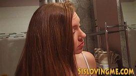 Sexy stepsister tugs dick