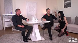 Black-haired submissive Damaris extreme fisted, spanked &amp_ double penetrated