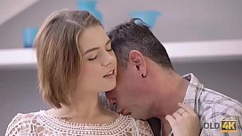 OLD4K. Old man drills shaved pussy of jaw-dropping student Marina Visconti
