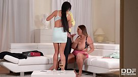 Extremely busty lesbians Laura Orsolya &amp_ Patty Michova share big fat dick