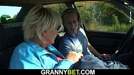 Picked up granny riding cock in the car