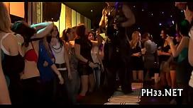 Hard core group-sex in night club