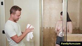 Plumber girl getting wet massage