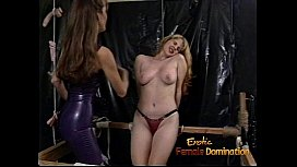 Raunchy blonde slut with big tits gets whipped hard by a dominatrix