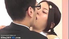 Japanese adorable college girl fucks shy boyfriend