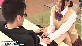 Japanese adorable college girl fucks shy boyfriend
