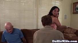Hairy asian wife cockriding in front of hubby