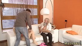 Old milf and young his father came closer to her and started to lead
