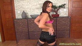 busty babe in stocking masturbating