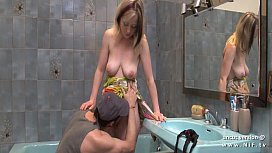 Amateur french mom with big milky tits and big butt hard banged in the bathroom