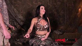 Deep &amp_ hard double penetration at the army base gives Veronica Avluv orgasms GP452