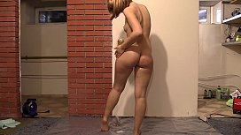 The blonde inserts her fingers into the anal and hairy pussy and fucks her holes. Fetish with oil and masturbation.