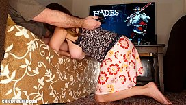 Big Tits Gamer Girl Jiggles Her Boobs While BF Plays Computer Game. Submissive BJ & Cum Swallowing