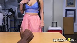 Busty hottie sits and rides on horny directors big black cock