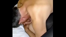 wife naught with pussy hairy fucking while husband watch