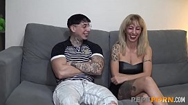 Blonde experienced MILF tries at porn with a young dick