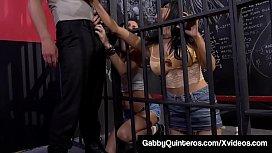 Jailbirds Gabby Quinteros &amp_ Jessica Jaymes Bang Prison Guard