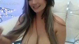 Huge tits beautiful latina playing front cam with her big tits and dildo