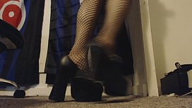Hairy Goth Up Close and Personally Fingers and Rubs Her Pussy in Heels and Fishnet Stockings