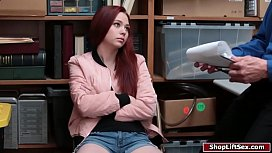Redhead thief sucks cock for her way out