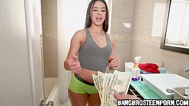 Cute teen maid with a tight body accepts cash to show some skin