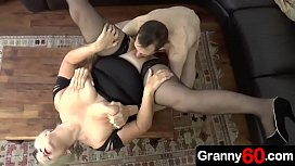Horny step grandma is watching her sexy young grandson work at pool and all she wants to do is fucked by him