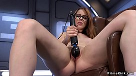 Leaned forward redhead fucked machine