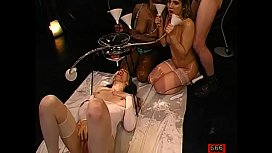 Dude is feeding jizz flow into horny babes'_ lusty mouths