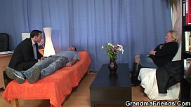 Busty granny in pantyhose takes dp