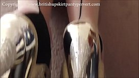 British mature in stockings shows upskirt with very tight and unused pussy