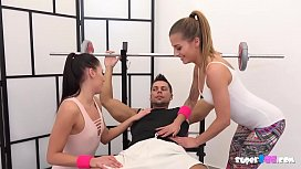 Two sexy teens fuck their own trainer