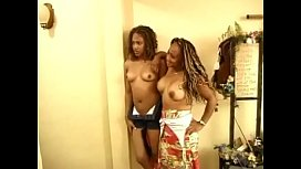 Two dirty ebony sluts with curly hair sucking cock to make guy happy