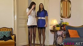 High heeled british les licks milf
