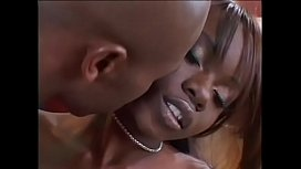 Black girl Ashley Brooks in fishnet stockings wants to seduce this black dude to fuck her