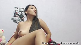 Shes having anal with both vibrator and a long dildo inserted at the same time inside her asshole - Part 1