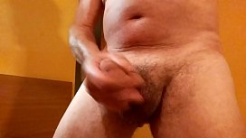 Milking my hairy cock close up