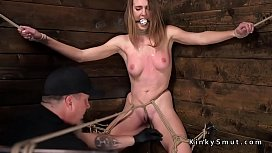 Hogtied babe squirting on the floor