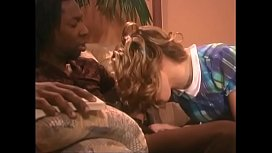 Young blonde with great natural tits gets deep black penetration