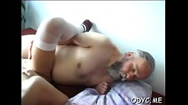 Hot old and young sex with cute babe stroking older man