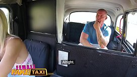 Female Fake Taxi Passenger obsessed by busty blonde drivers huge tits