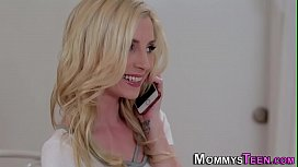 Busty blonde les stepmom