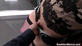 Busty asian analed reamed by Roccos cock