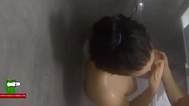 Session of shower and fucking.MILF caught with a hidden spycam by a voyeu SAN134