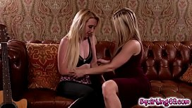 Hot lesbian blondes eat each others twat making their pussy drips their juices!