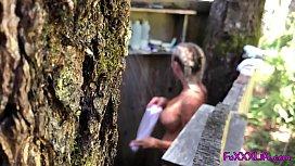 Hot outdoor shower in the woods - TheFoxxxLife -